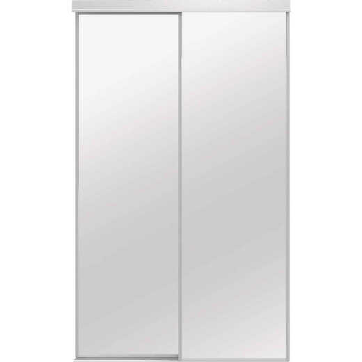 Colonial Elegance Economical Series 60 In. x 80-1/2 In. White Framed Mirrored Sliding Bypass Door