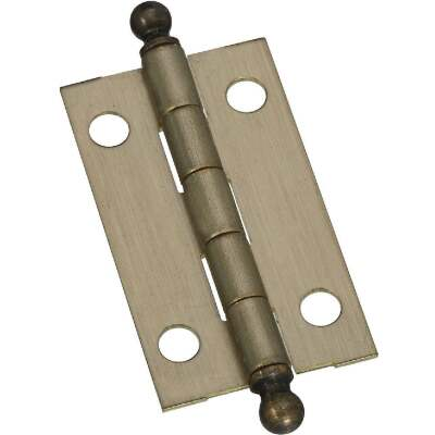 National 7/8 In. x 1-1/2 In. Antique Brass Ball Tip Hinge (2-Pack)