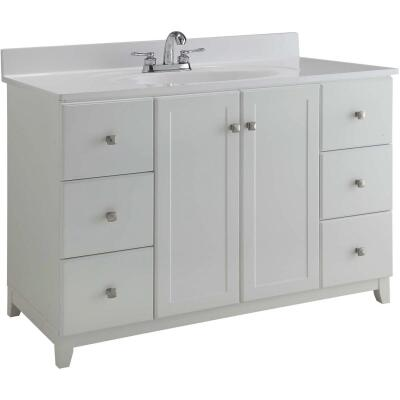 Design House Shorewood White 48 In. W x 33 In. H x 21 In. D Vanity Base, 2 Door/6 Drawer