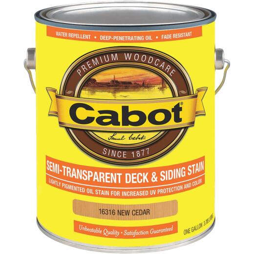 Cabot VOC Semi-Transparent Deck & Siding Exterior Stain, New Cedar, 1 Gal.