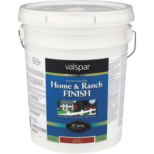 Valspar Exterior Latex Self Priming Flat Home And Ranch Finish, Ranch Red, 5 Gal.