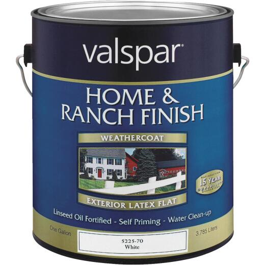 Valspar Exterior Latex Self Priming Flat Home And Ranch Finish, White, 1 Gal.