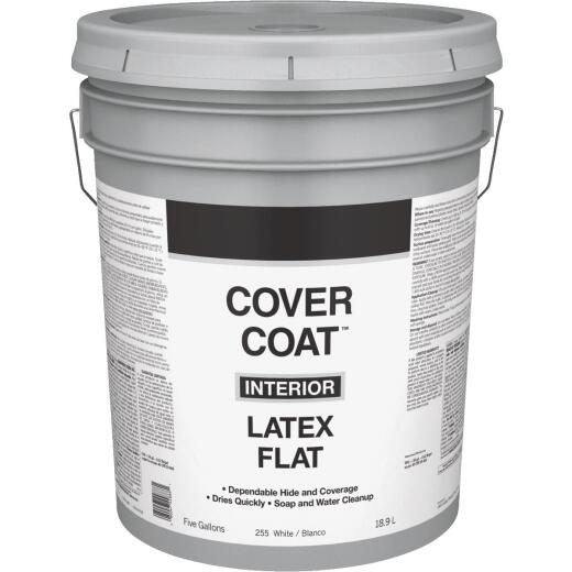 Cover Coat Latex Flat Interior Wall Paint, White, 5 Gal.