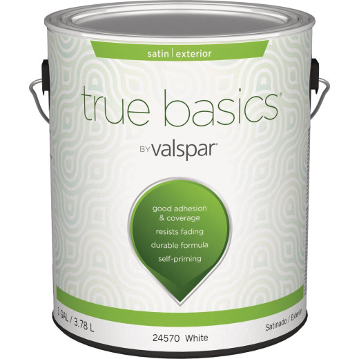 True Basics Satin Exterior House Paint, 1 Gal., White