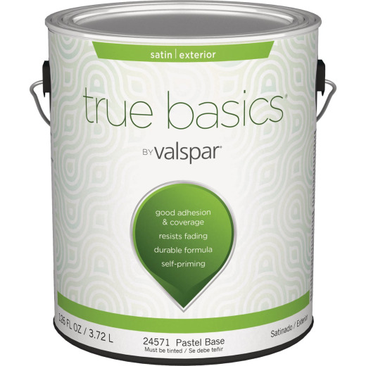 True Basics Satin Exterior House Paint, 1 Gal., Pastel Base