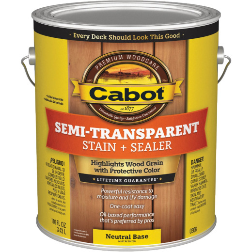 Cabot Semi-Transparent Deck & Siding Exterior Stain, Neutral Base, 1 Gal.