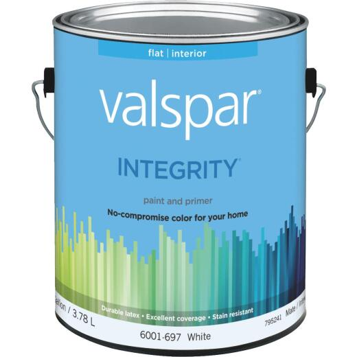 Valspar Integrity Latex Paint And Primer Flat Interior Wall Paint, White, 1 Gal.
