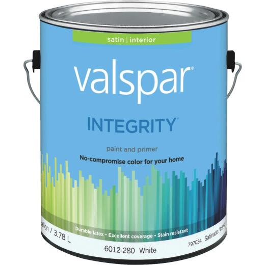 Valspar Integrity Latex Paint And Primer Satin Interior Wall Paint, White, 1 Gal.